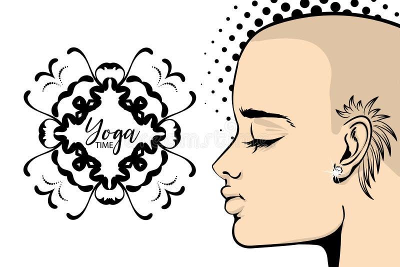 大胆的纹身花刺女子瑜伽横幅流行艺术 皇族释放例证