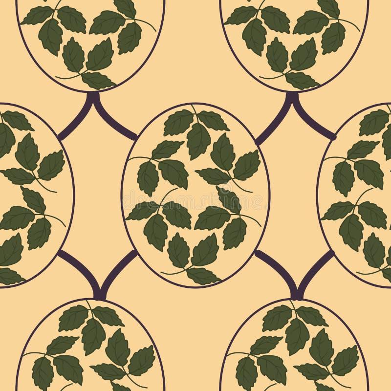 大胆的绿色叶子,在艺术nouveau无缝的样式设计 向量例证