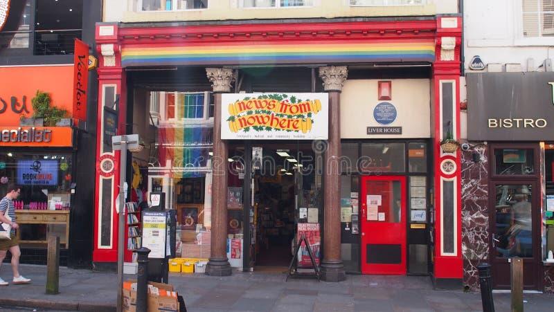 大胆的街道的利物浦,英国独立书店 库存图片