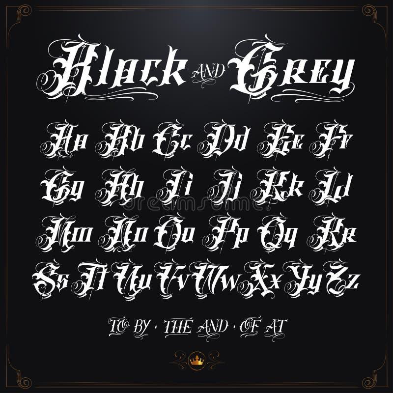 大胆的黑和灰色纹身花刺字体 皇族释放例证