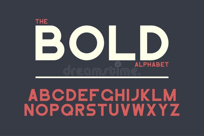 大胆的Sans Serif铅印设计 与强的信件的传染媒介字母表 减速火箭的字体 向量例证