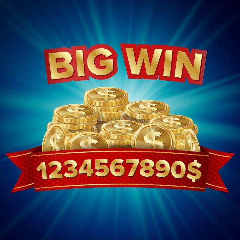 大胜利传染媒介 网上赌博娱乐场的,赌博的俱乐部,啤牌,广告牌背景 金币困境例证 向量例证