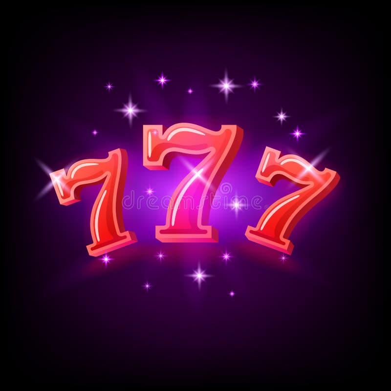 大胜利开槽紫色背景的红色777副横幅赌博娱乐场 r 皇族释放例证