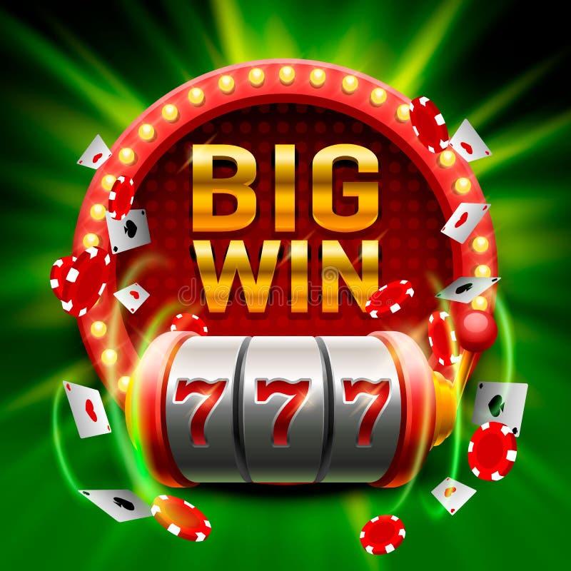 大胜利开槽777副横幅赌博娱乐场 皇族释放例证