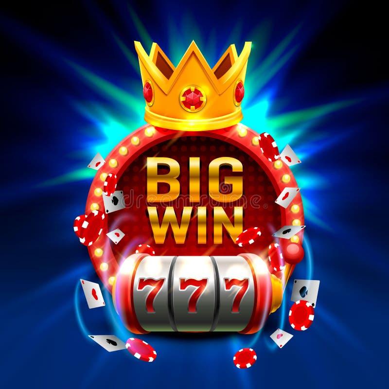 大胜利开槽777副横幅赌博娱乐场 向量例证