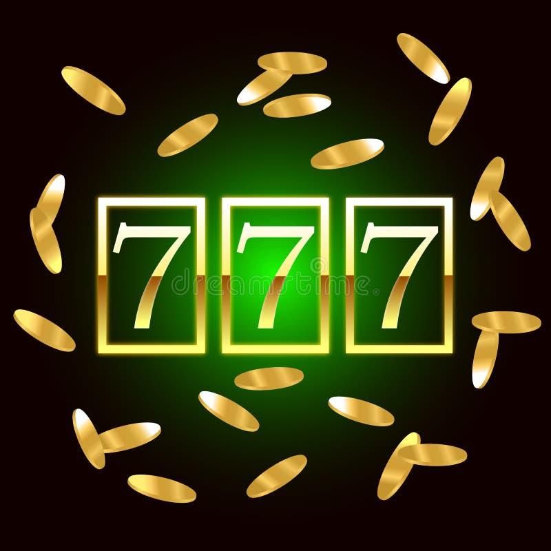大胜利开槽777横幅赌博娱乐场困境的 也corel凹道例证向量 库存例证