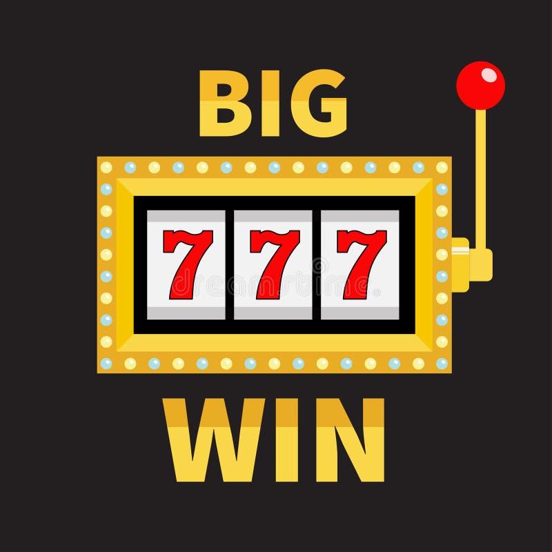 大胜利文本老虎机 辉光灯光 777困境 幸运的sevens 红色把柄杠杆 网上赌博娱乐场,赌博的俱乐部标志symb 皇族释放例证