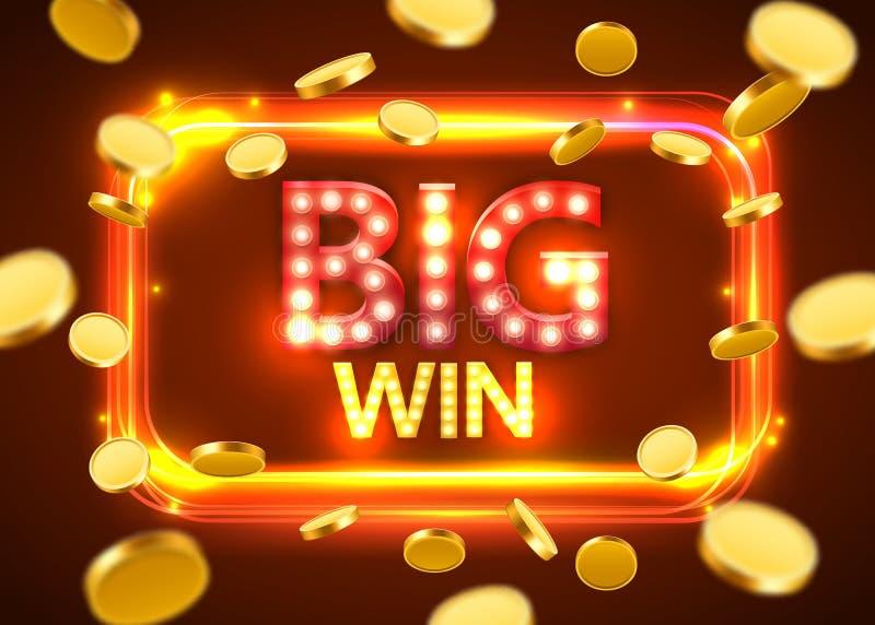 大胜利 与飞行硬币的光亮的减速火箭的横幅 赌博娱乐场概念 库存例证