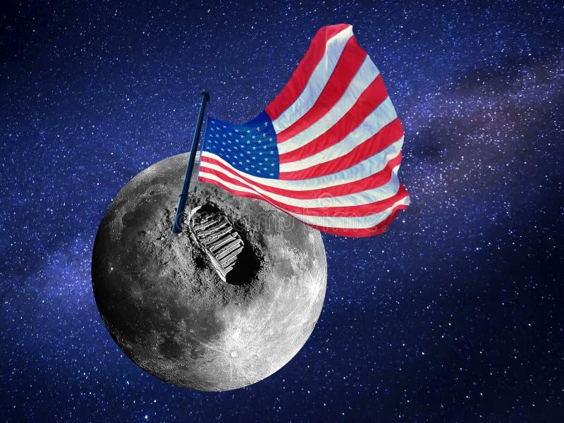 大脚印或步和美国旗子月亮表面上在宇宙 图象由美国航空航天局亲切地提供了 库存图片