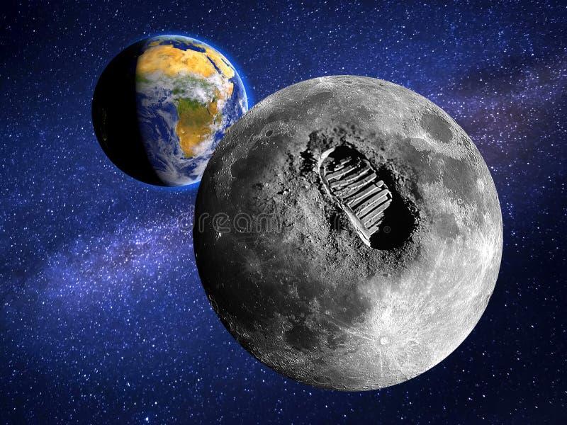 大脚印或步月亮表面上在宇宙 图象由美国航空航天局亲切地提供了 向量例证