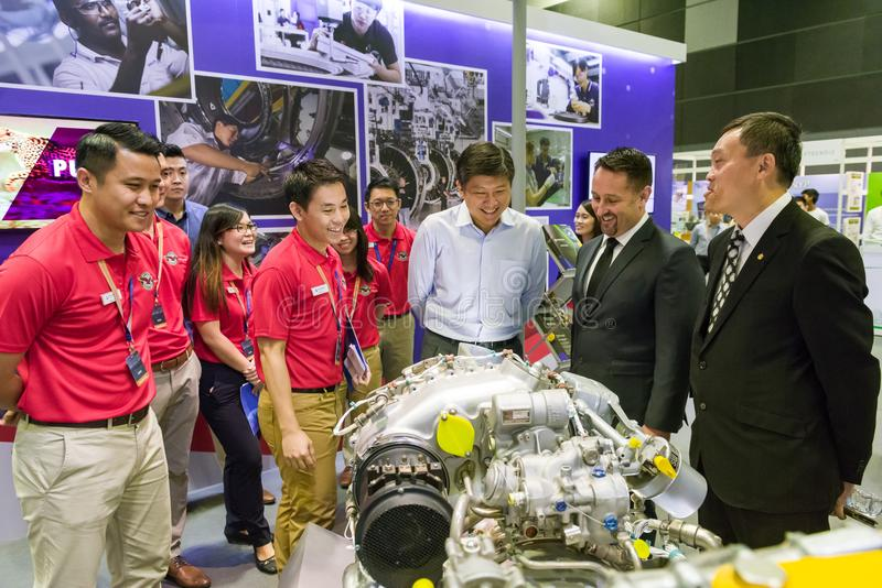 大臣Ng在航空家庭招待会的Chee蒙山 免版税库存图片
