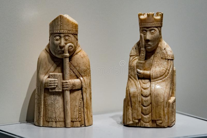 大英博物馆中世纪棋 免版税库存图片