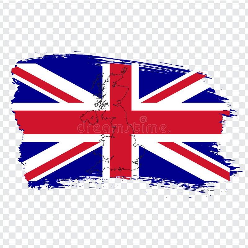 大英国的旗子从刷子冲程和空白的地图大英国的 大英国的优质地图透明背景的 向量例证