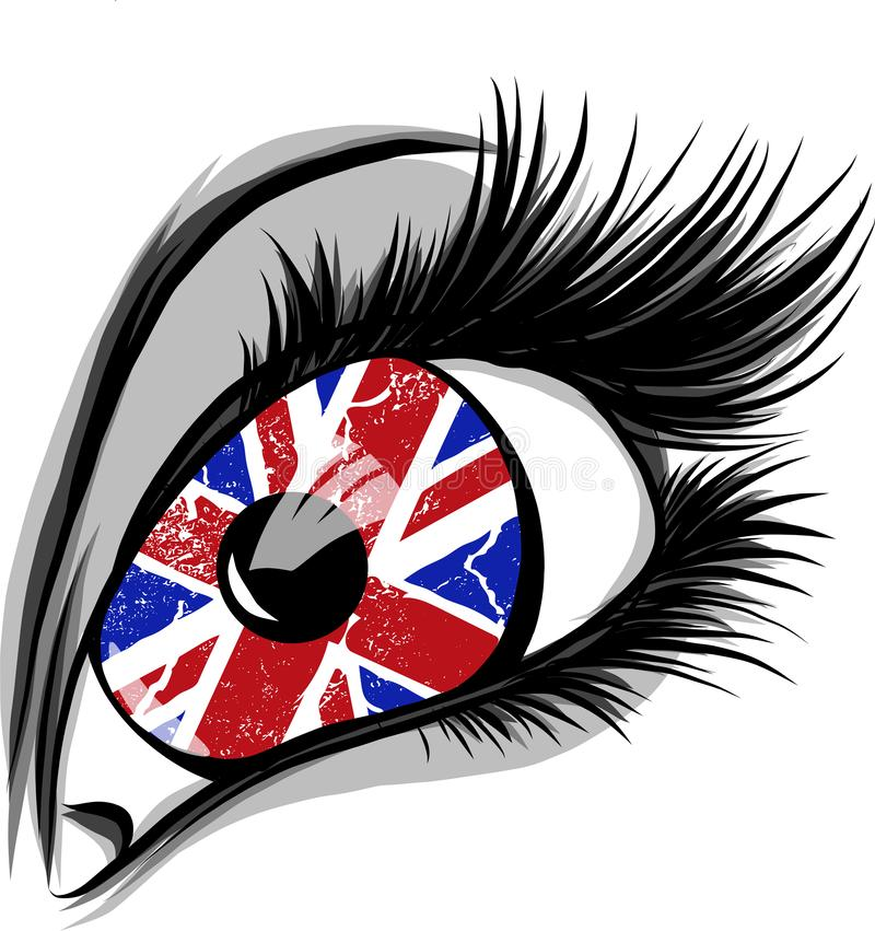 大英国的旗子美丽的男性或女性眼睛的 有开放嘴的性感的惊奇的妇女 五颜六色的向量 皇族释放例证