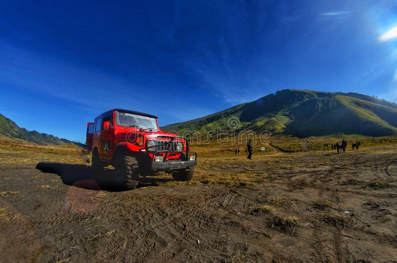 大草原在布罗莫火山国家公园,苏拉巴亚,印度尼西亚 库存照片