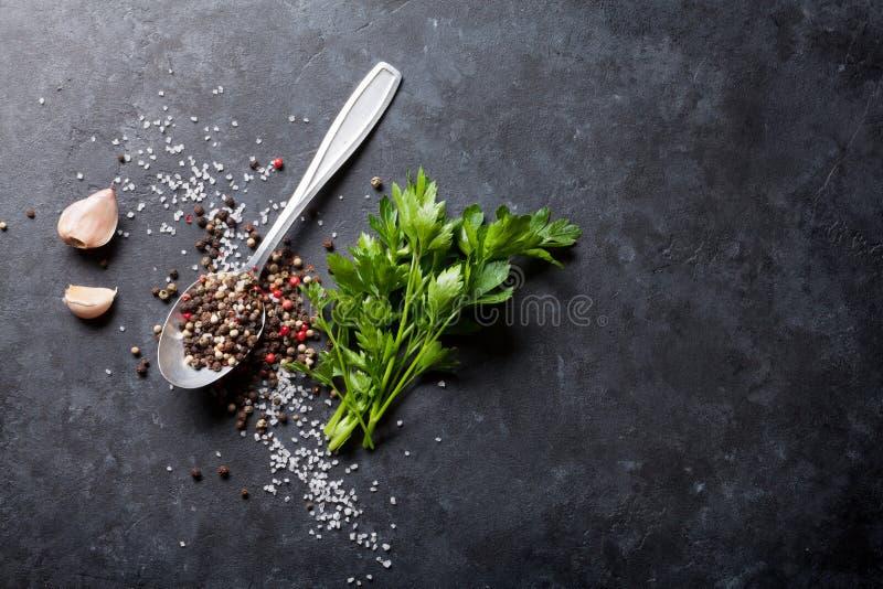 大蒜、胡椒和盐香料,荷兰芹草本 免版税图库摄影