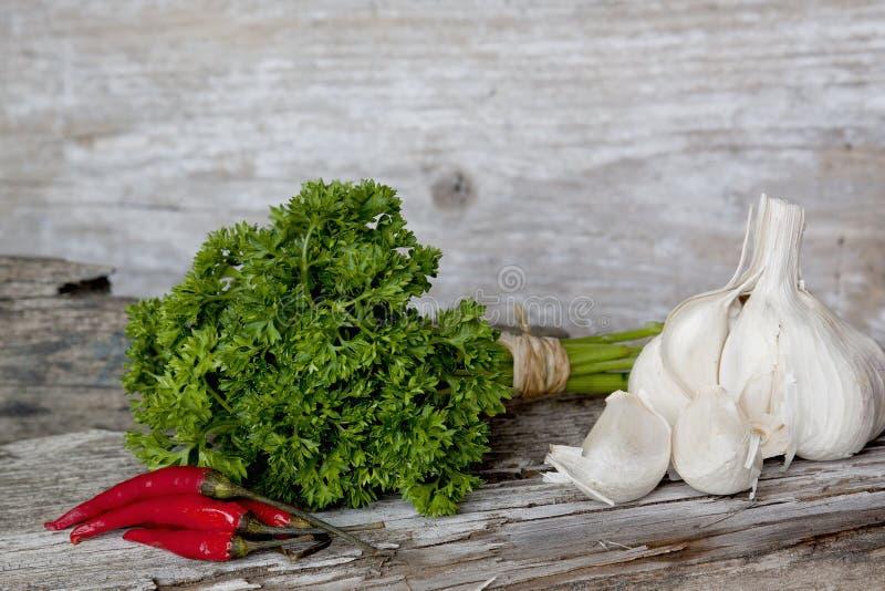 大蒜、荷兰芹和炽热冷颤的胡椒 免版税图库摄影