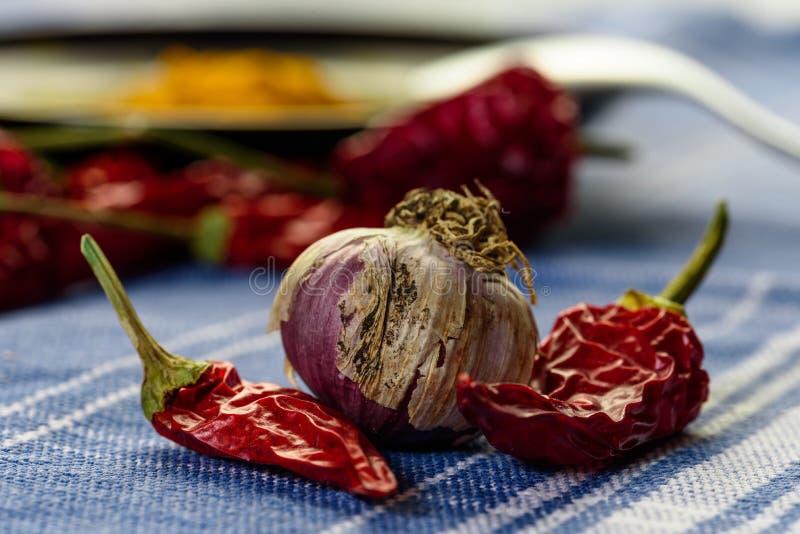 大蒜和辣子在桌上 图库摄影