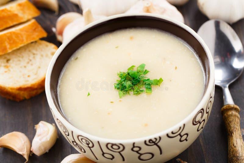 大蒜奶油色汤 免版税库存照片