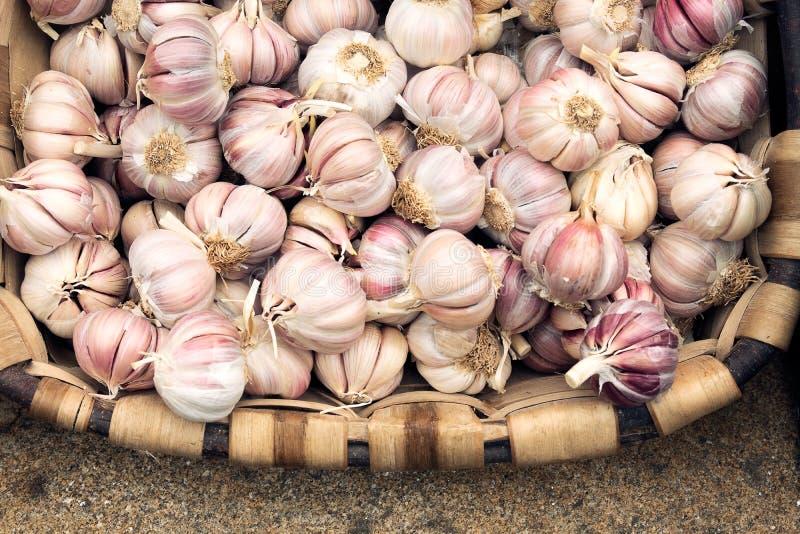 大蒜待售在地方农夫市场上 免版税库存图片