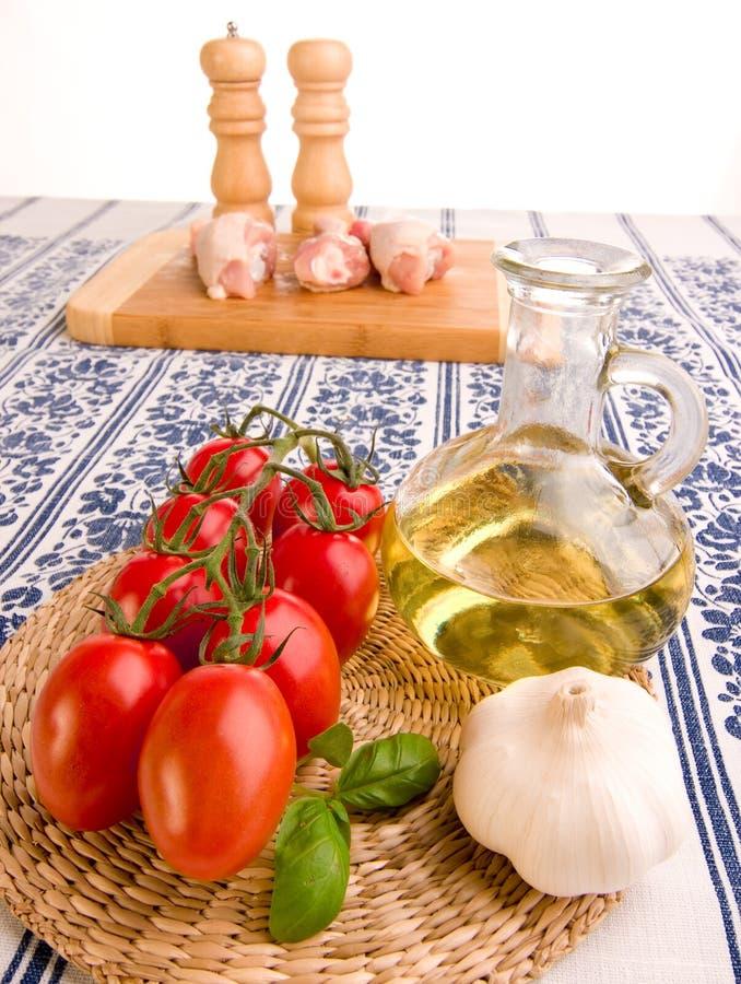 大蒜油蕃茄 免版税库存图片