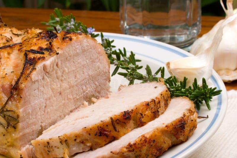 大蒜烤猪肉迷迭香 库存图片
