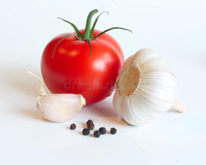 大蒜胡椒红色蕃茄 库存照片