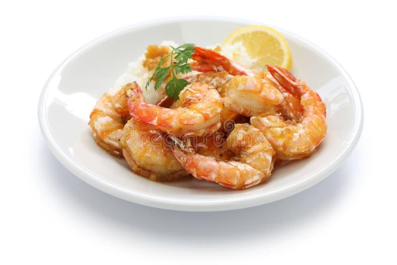 大蒜虾,夏威夷食物 免版税库存照片