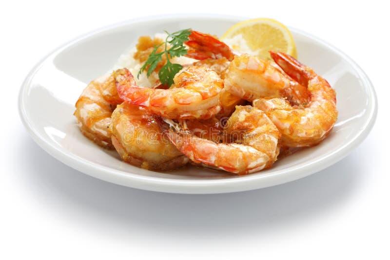 大蒜虾,夏威夷食物 免版税库存图片