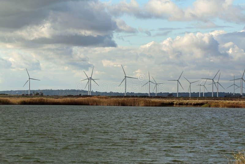 大蓝色云彩沿岸航行东部农厂爱尔兰好的天空天气白色风 库存图片