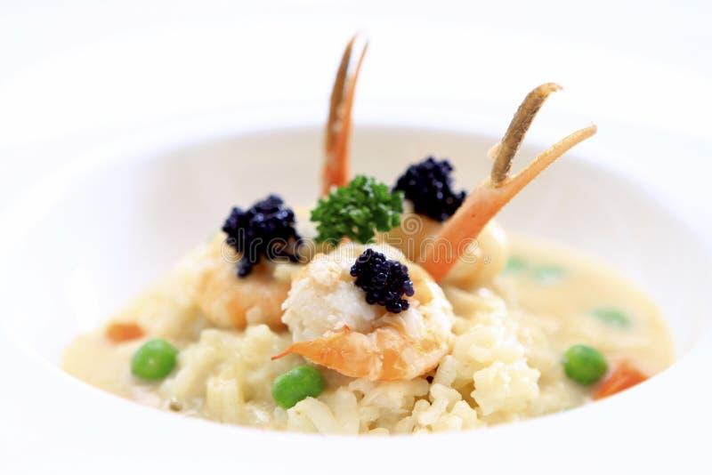 大虾意大利煨饭 免版税库存照片