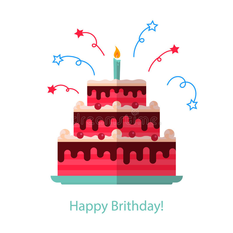 大蛋糕平的象隔绝了白色背景-生日快乐 库存例证