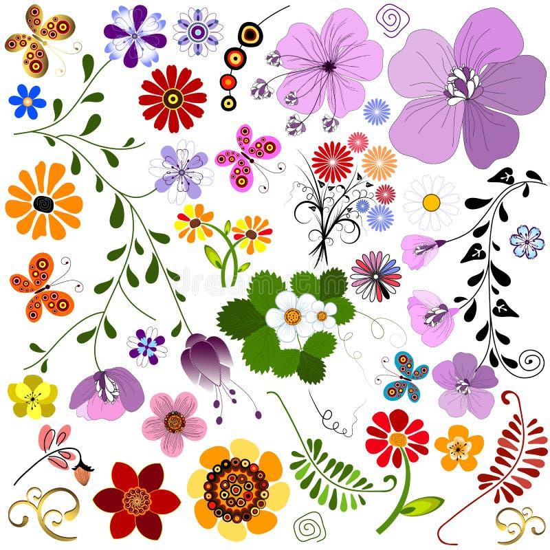 大蝴蝶收集花 库存例证