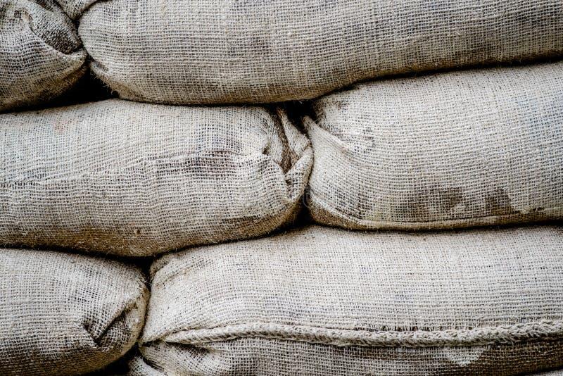 大袋有很多护拦的沙子在尼科西亚,塞浦路斯 免版税库存图片
