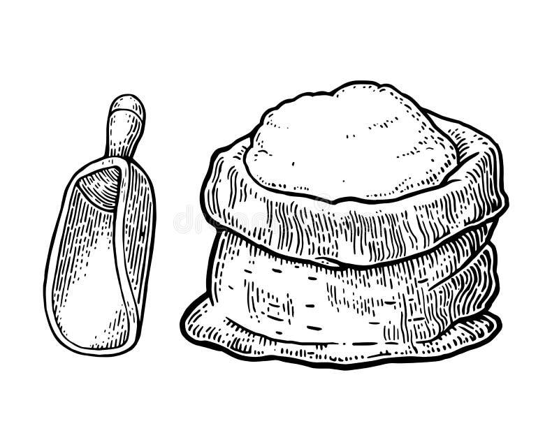 大袋用整个面粉 手拉的剪影样式 向量例证