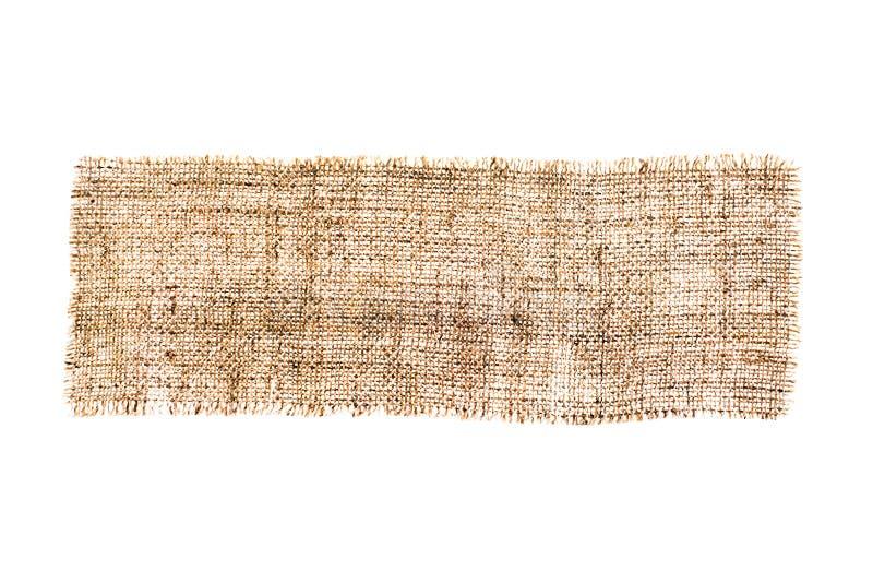 大袋纹理,粗麻布织品,黑森州隔绝在白色背景 库存照片