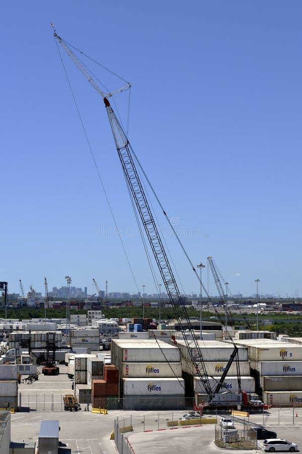大被跟踪的起重机在劳德代尔堡港的容器区域  库存照片