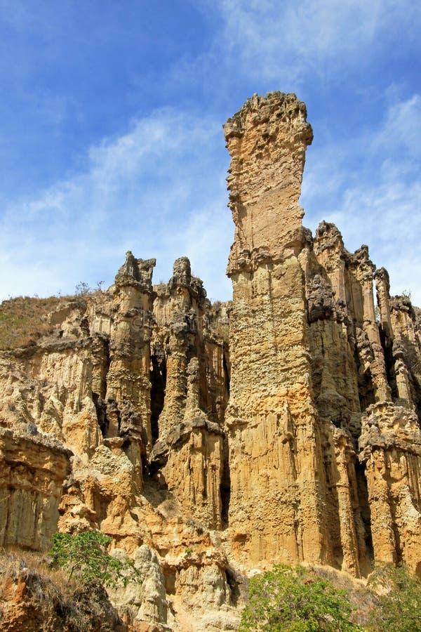 大褐砂石垫座和专栏在Los Estoraques独特的自然地区, Playa De Belen,哥伦比亚 库存照片