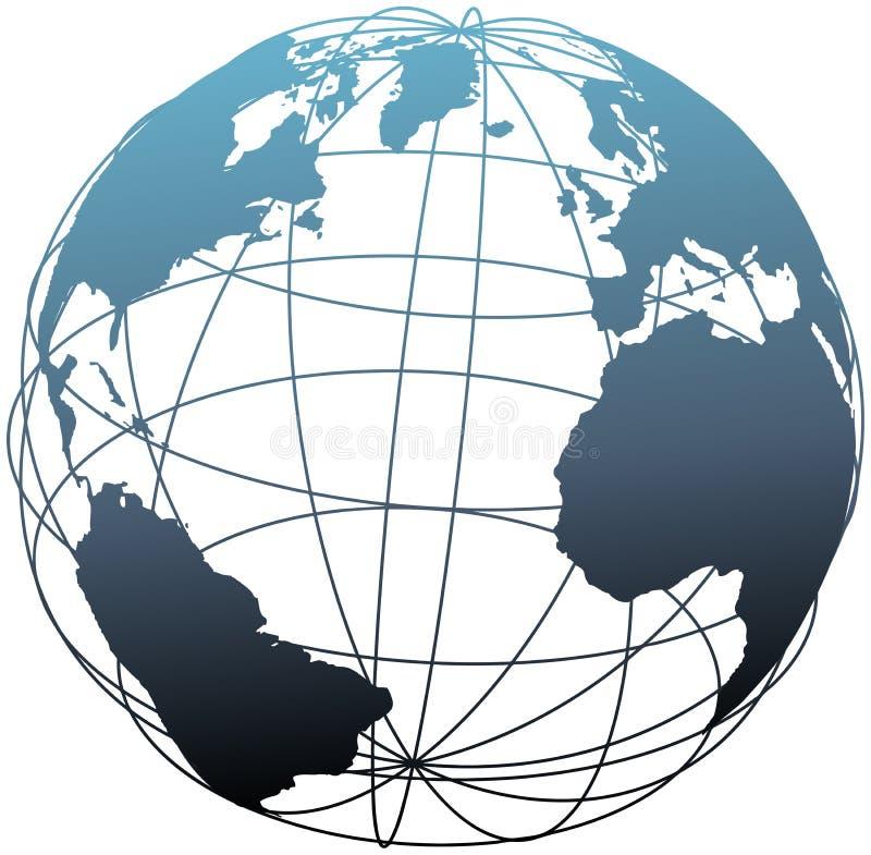 大西洋地球全球地球纬度wireframe 向量例证