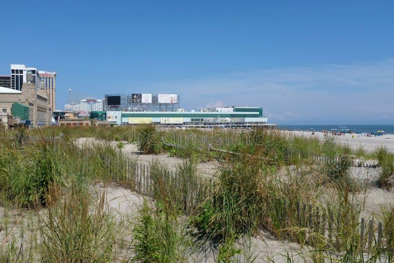 大西洋城海滩和沙丘 库存照片