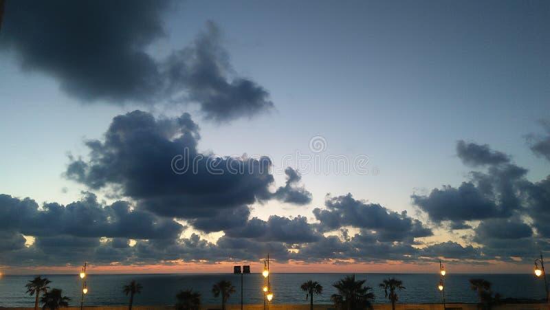 大西洋天空和太阳照片 库存图片