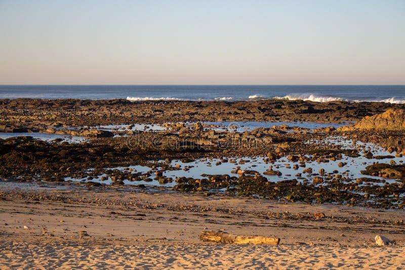 大西洋海岸在葡萄牙,欧洲 与岩石的早晨海滩 在日落的海滩 海景在黎明 夏天晚上海岸线 免版税库存照片