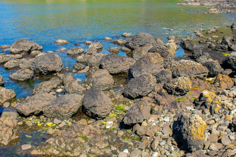 大西洋海岸在Ballycastle北爱尔兰 夏天好日子,清楚的天空蔚蓝 库存照片