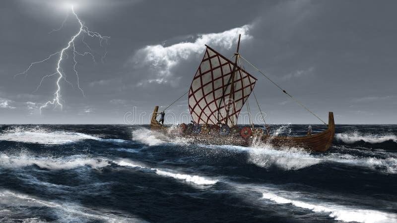 大西洋longship风暴北欧海盗 库存例证