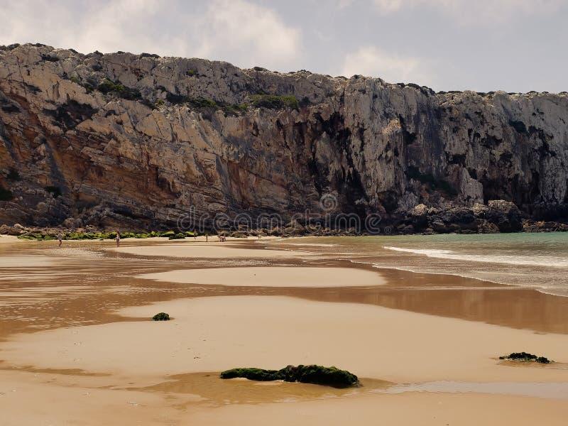 大西洋和峭壁在萨格里什 葡萄牙阿尔加威 库存图片