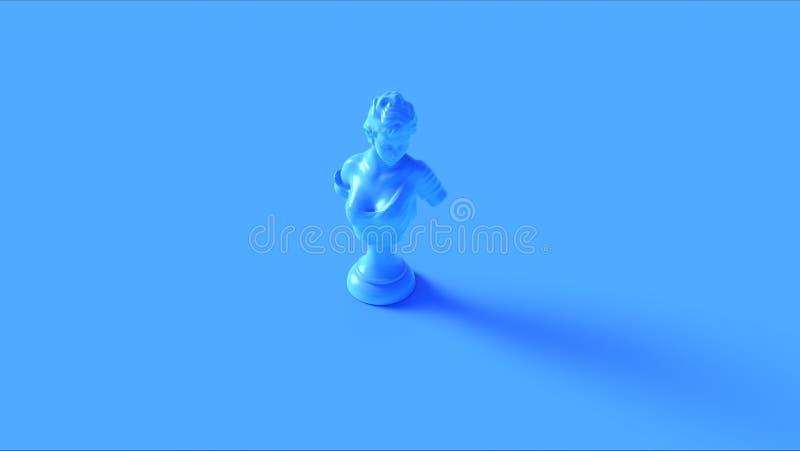 大角度明亮的蓝色的雕象 皇族释放例证