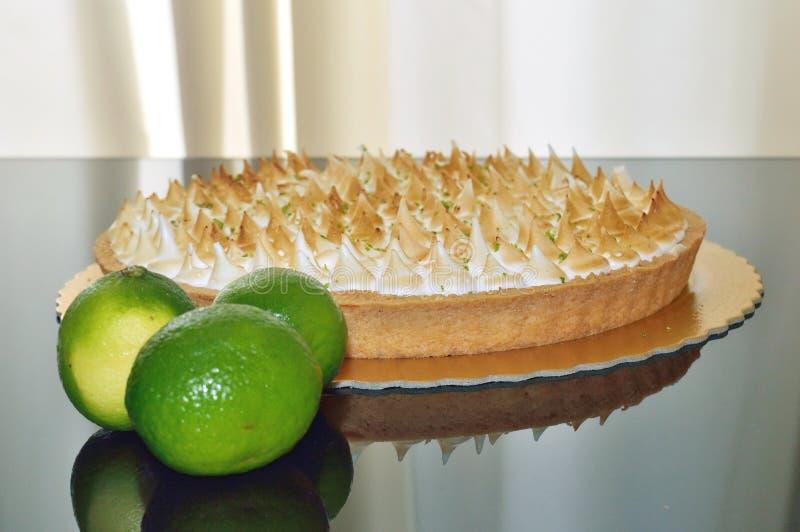 大角度看法柠檬饼用在上面的蛋白甜饼 免版税库存图片