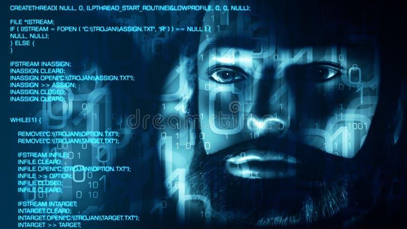 大计算机黑客传染的数据特洛伊病毒 向量例证