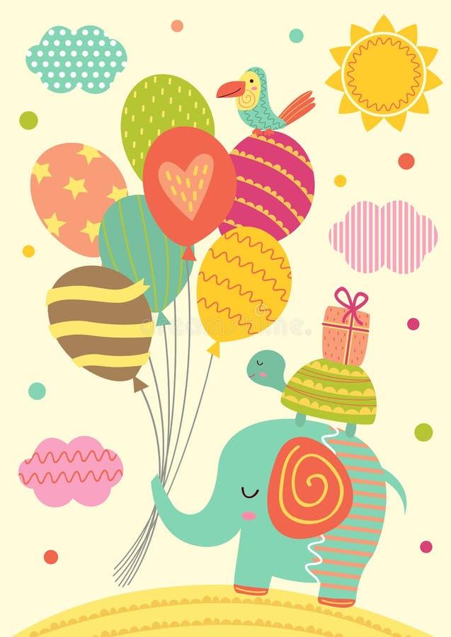 大象、乌龟和鹦鹉与气球 皇族释放例证