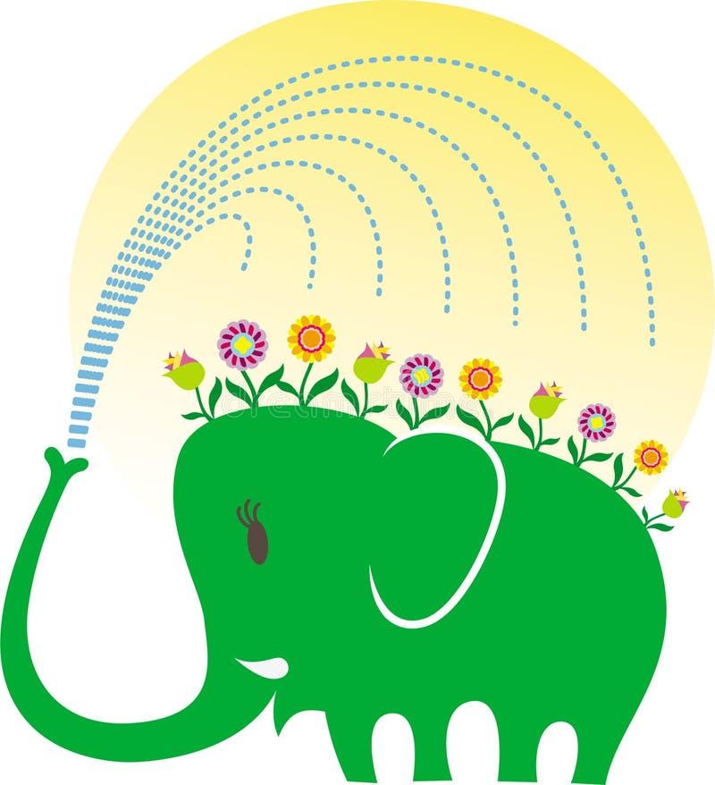 大象从事园艺的爱 向量例证